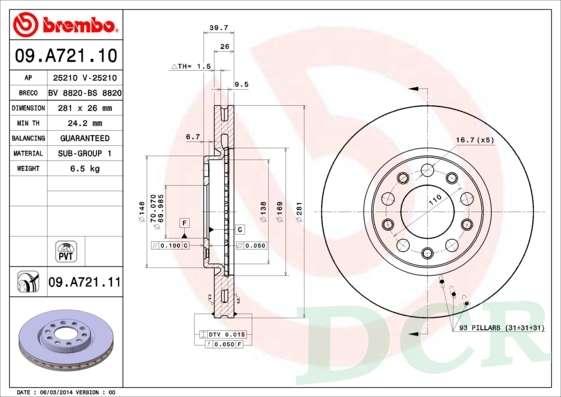09.A721.11-P23148 Dischi Pastiglie Freno Anteriori Giulietta 1.4 Bifuel 1.6 Multijet