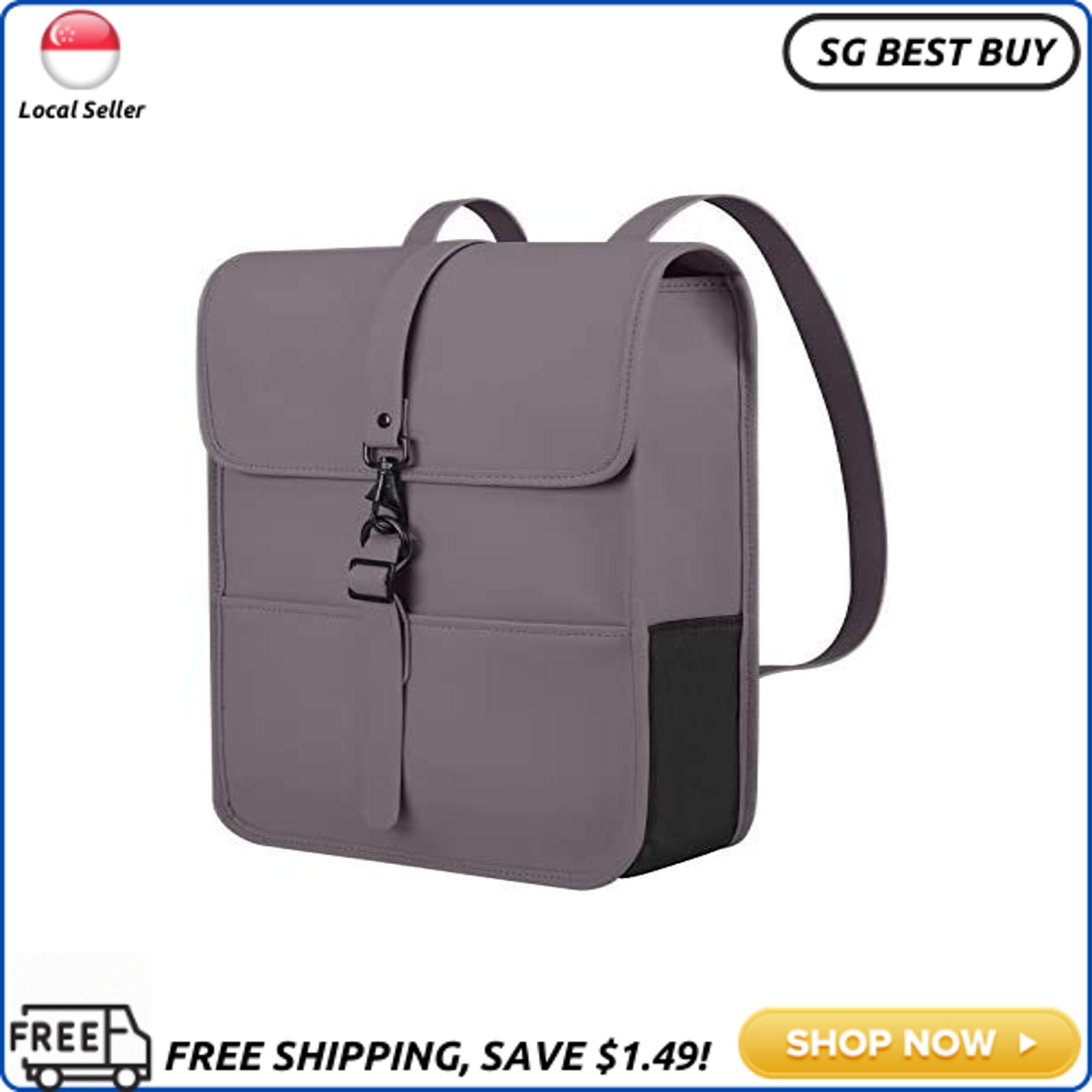 (SG SELLER) Cartinoe Women Backpack PU Leather Waterproof Backpack School College Bookbag Laptop Backpack Travel Bag Large Capacity Casual Vintage Daypacks Satchel Messenger Bag for 14 15.6 Inch Notebook - Grey