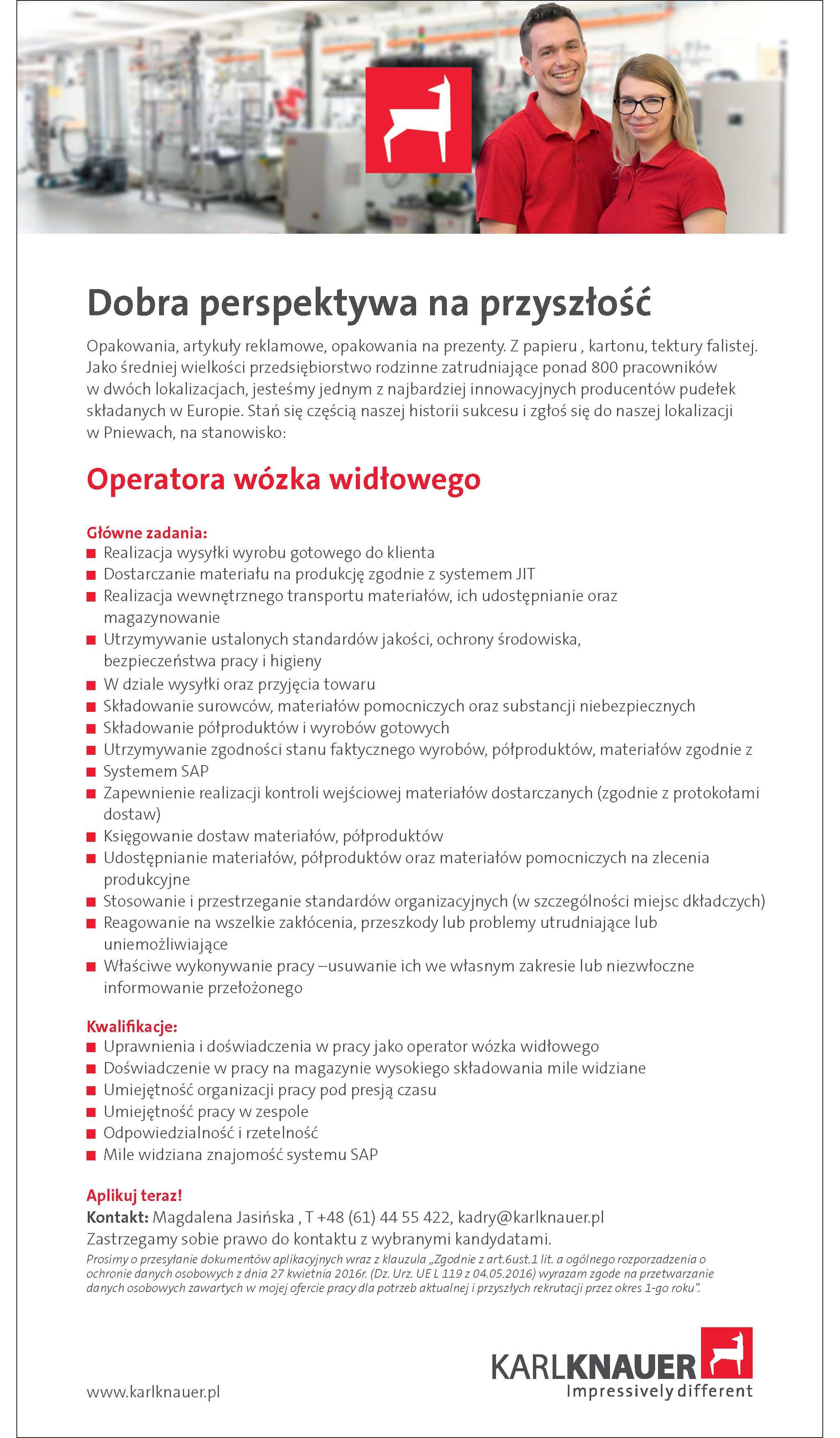 Praca dla operatora wózka widłowego