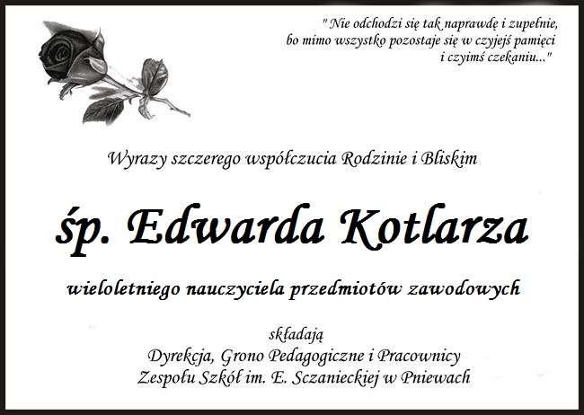 Żyli wśród nas – Edward Kotlarz – kondolencje