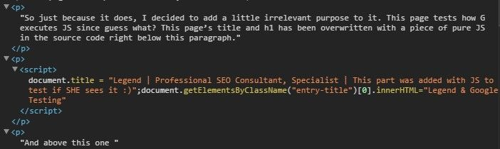 screenshot of JS overwriting a title and an h1