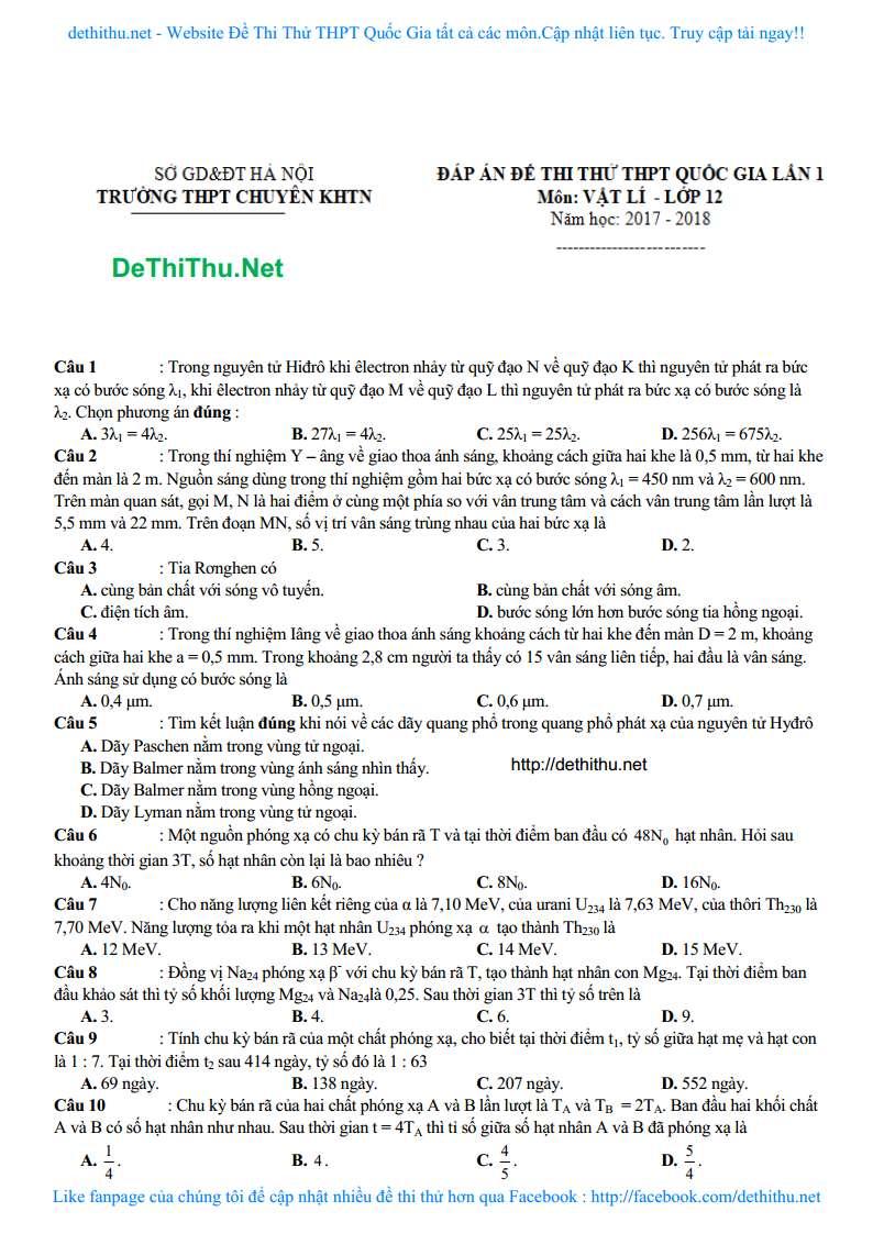 De thi thu mon Vat Ly THPT chuyen KHTN Ha Noi 2018 lan 1 trang 6