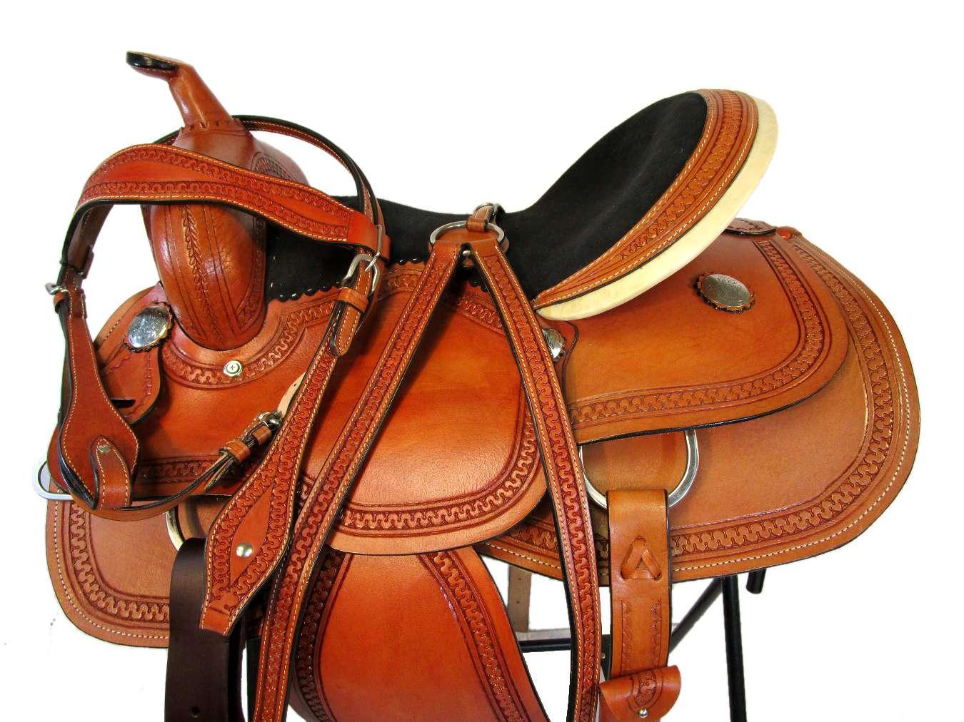 15 16 Trail Horse Pleasure Tooled Comfy Riding Gaited Western Saddle Tack Set Ebay
