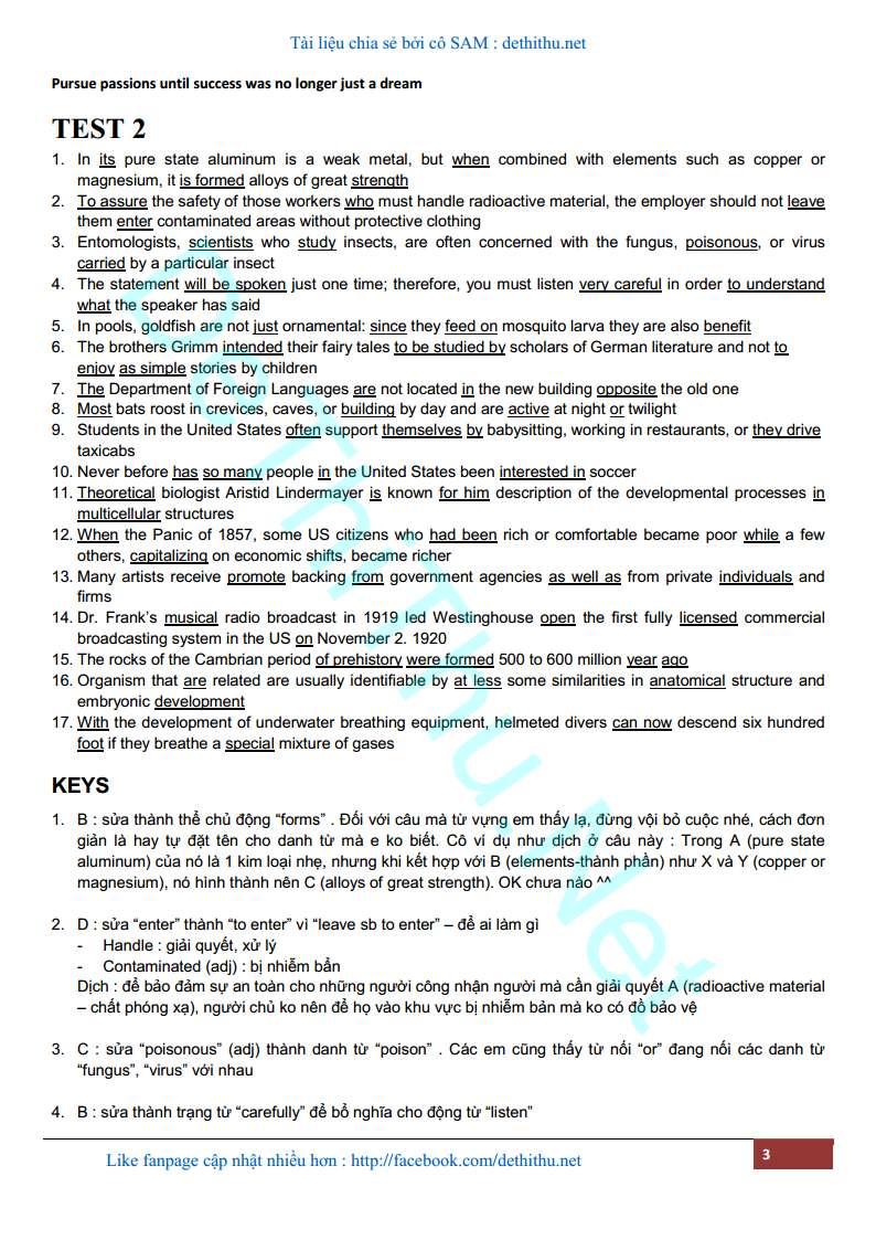 Chuyên đề bài tập trắc nghiệm tìm lỗi sai tiếng Anh