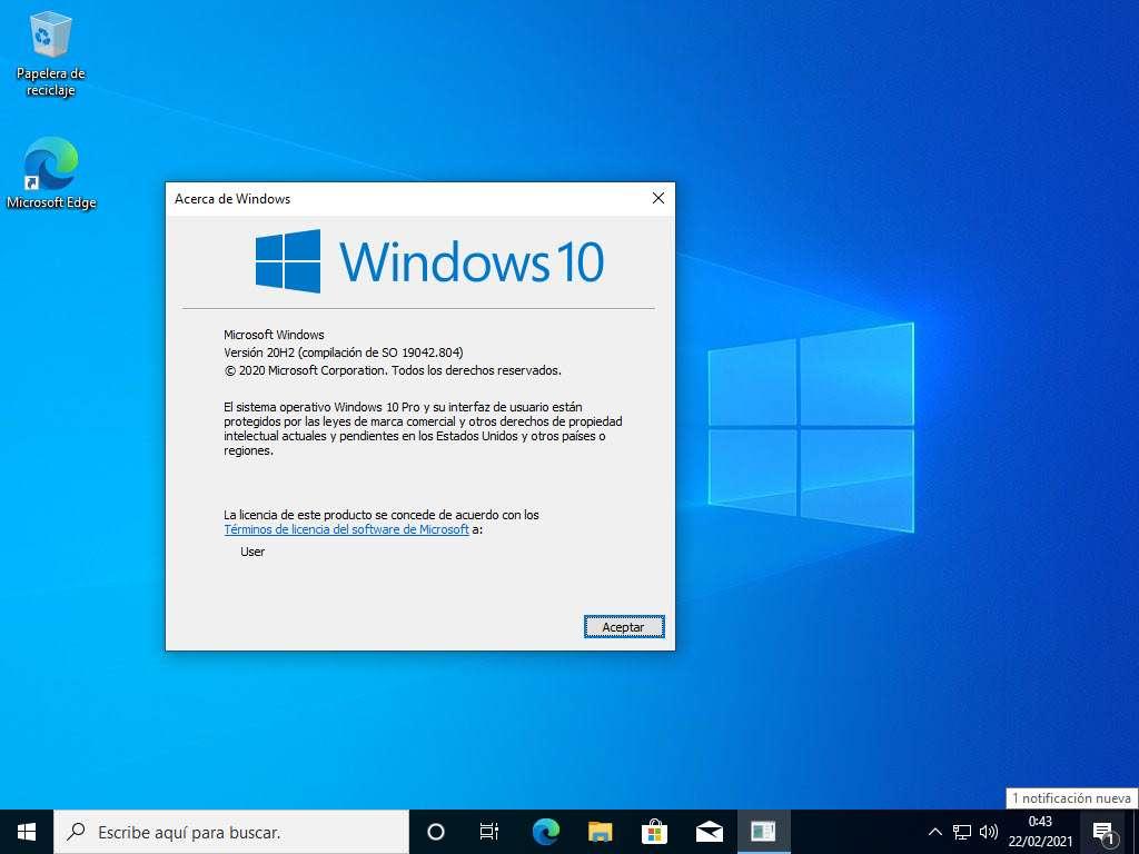 Windows 10 Pro 64 Bits en su última versión