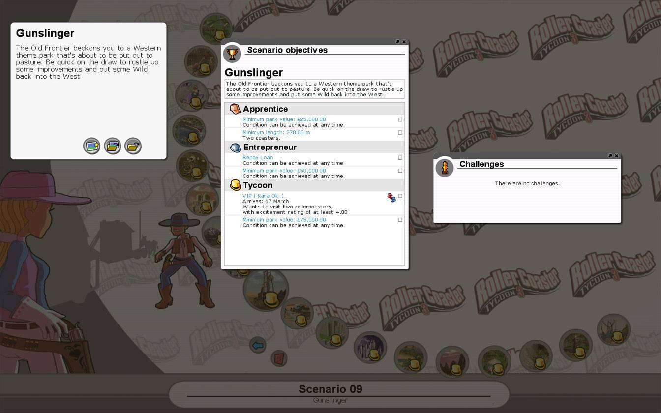 Scenario Information Image for FlightToAtlantis.net: RCT3 FAQ: Campaign Scenario Directory Specifics: Gunslinger
