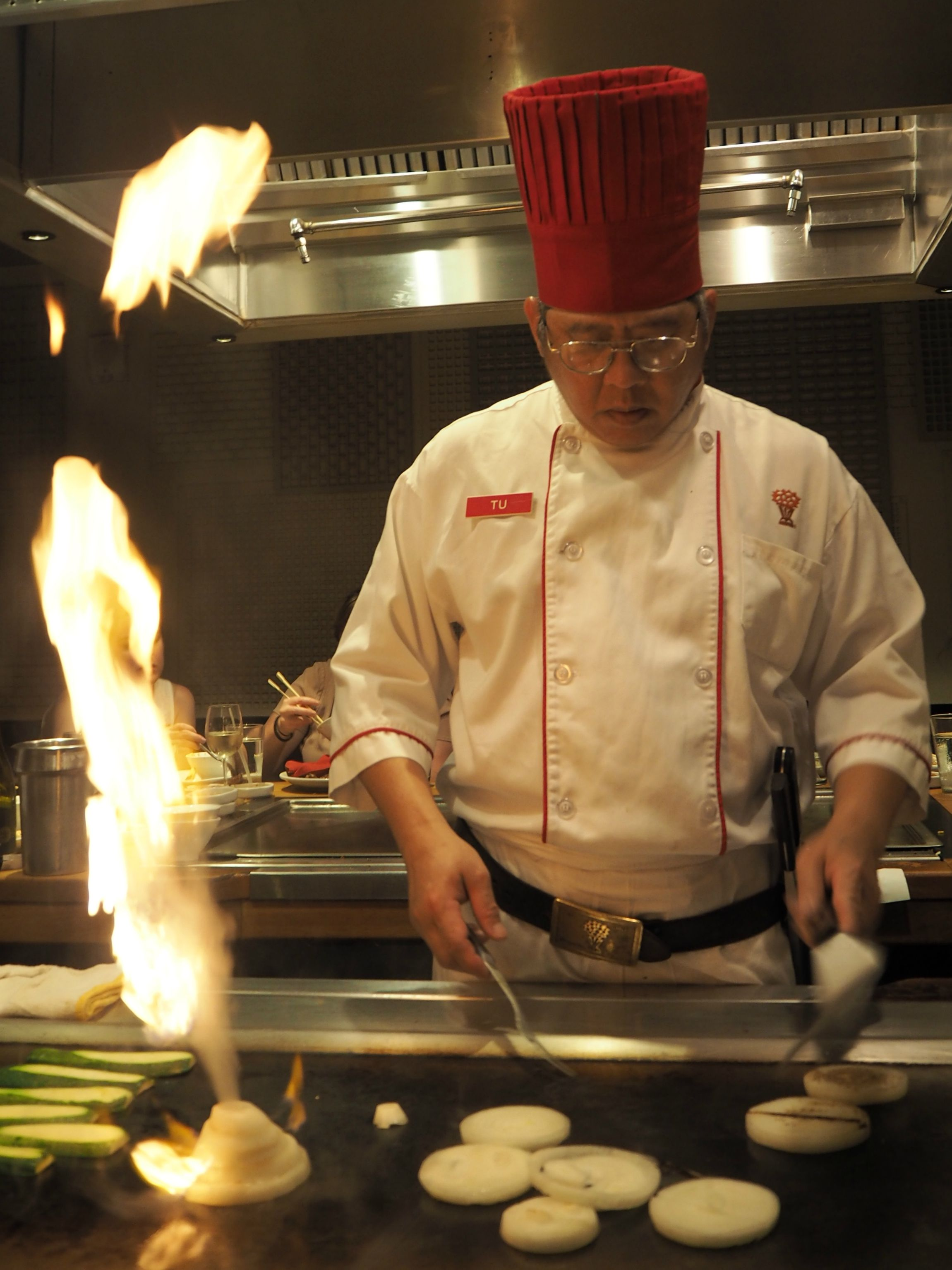 Chef Tu grilling onions at Benihana