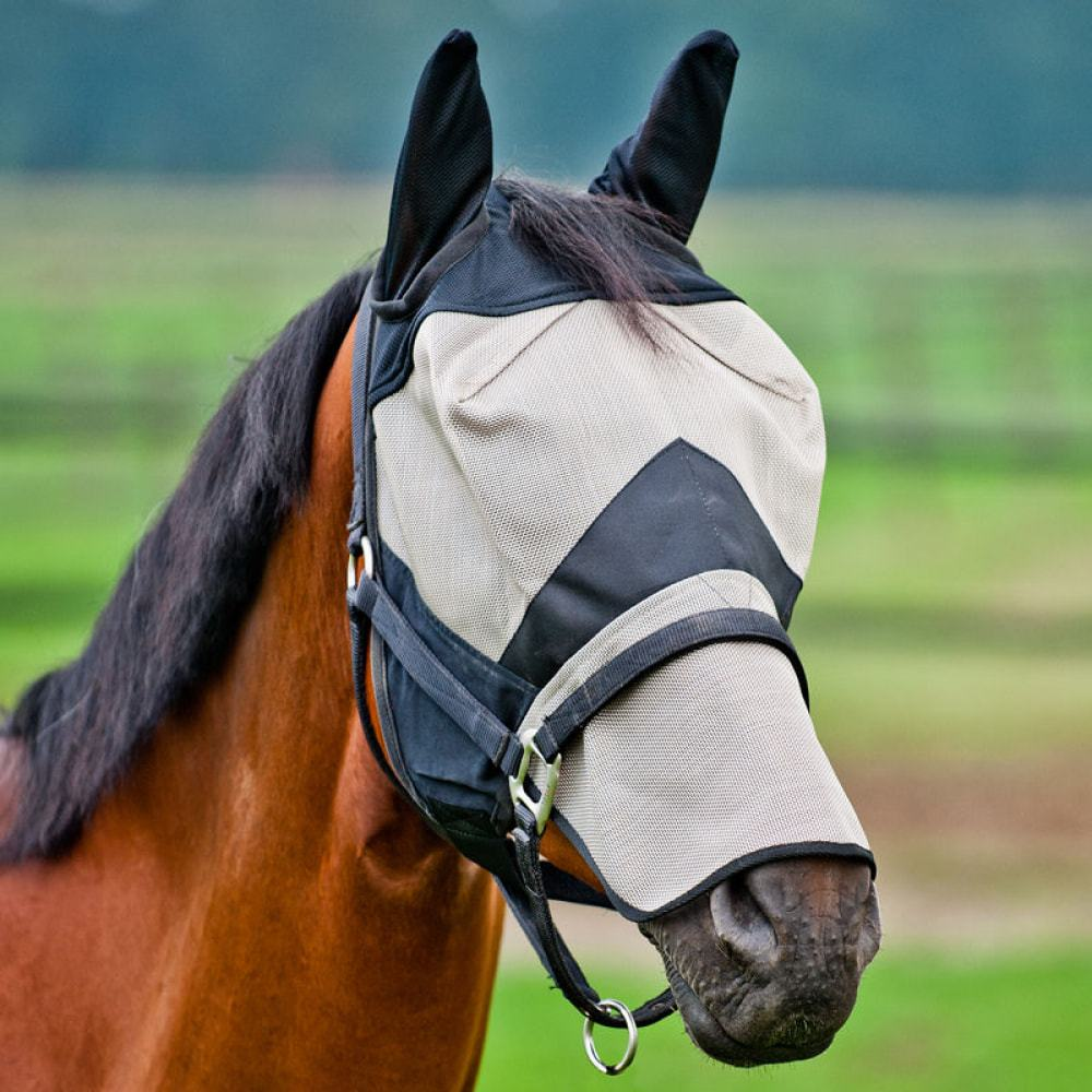 Horze-Full-Coverage-Fly-Mask-with-Nose-and-Ears-Protects-from-UV-and-Insects thumbnail 4