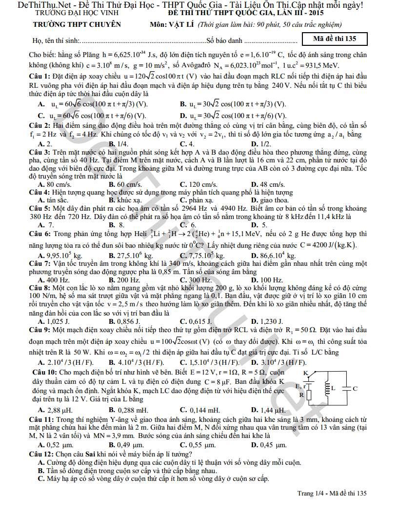 Chuyên đại học vinh - đề thi thử và đáp án môn Vật Lý THPT Quốc Gia 2015 lần 3