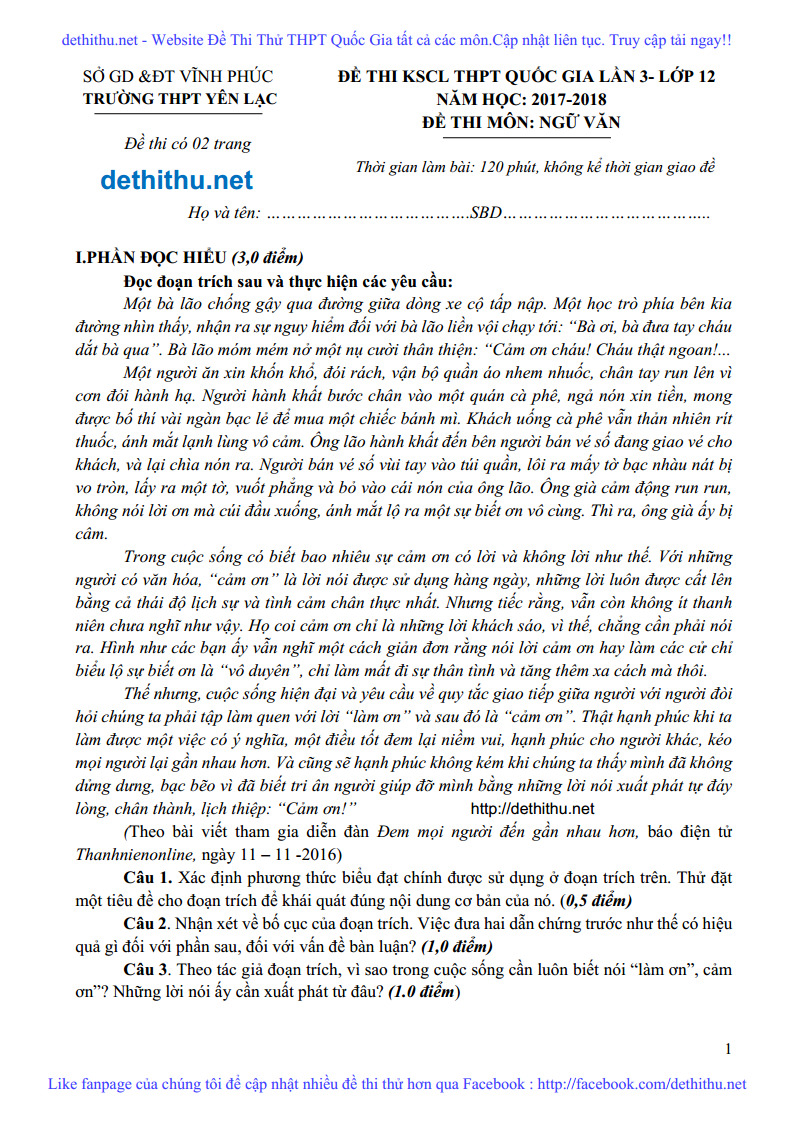 De thi thu Ngu Van nam 2018 THPT Yen Lac, Vinh Phuc lan 3 trang 1