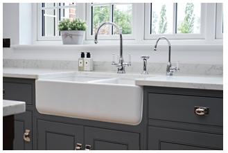 Perrin & Rowe® 800 Double Sink in White