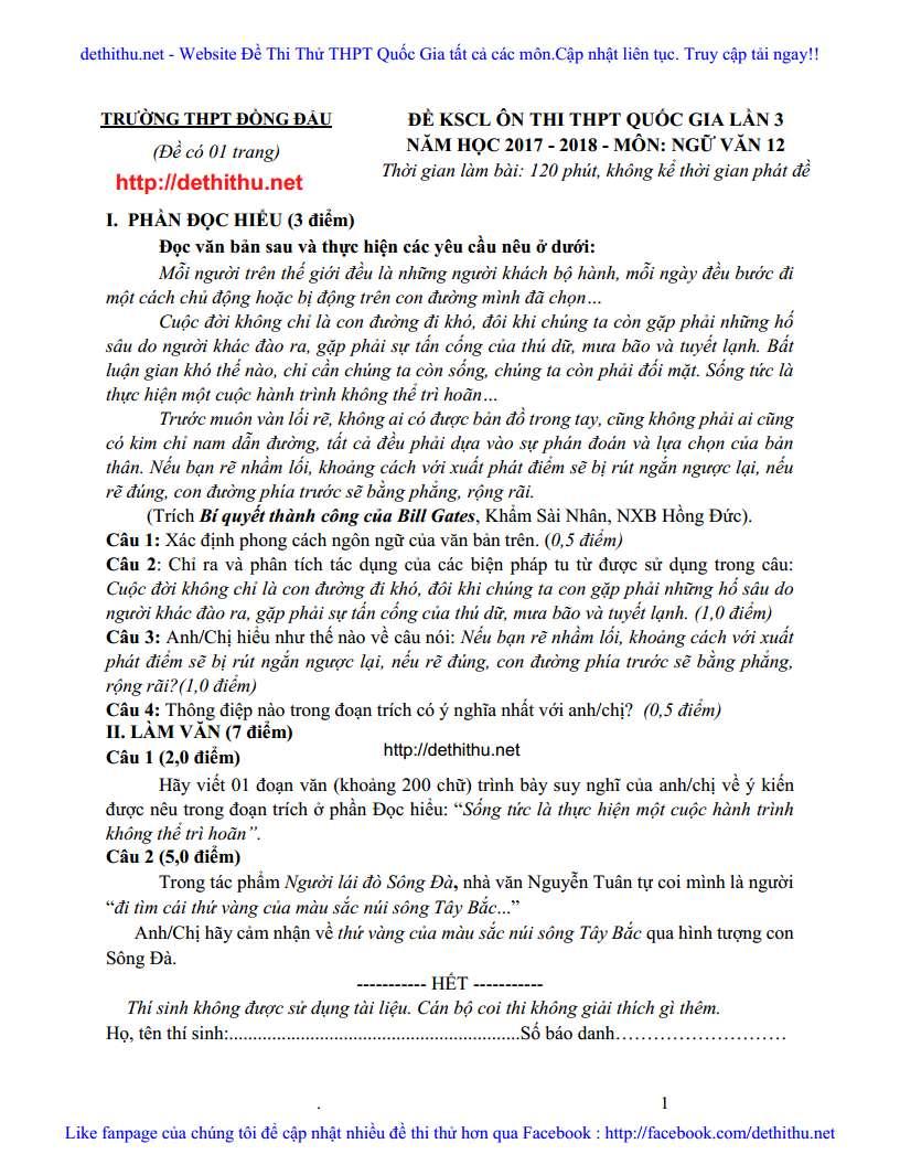 De thi thu mon Van 2018 THPT Dong Dau, Vinh Phuc lan 3 trang 6