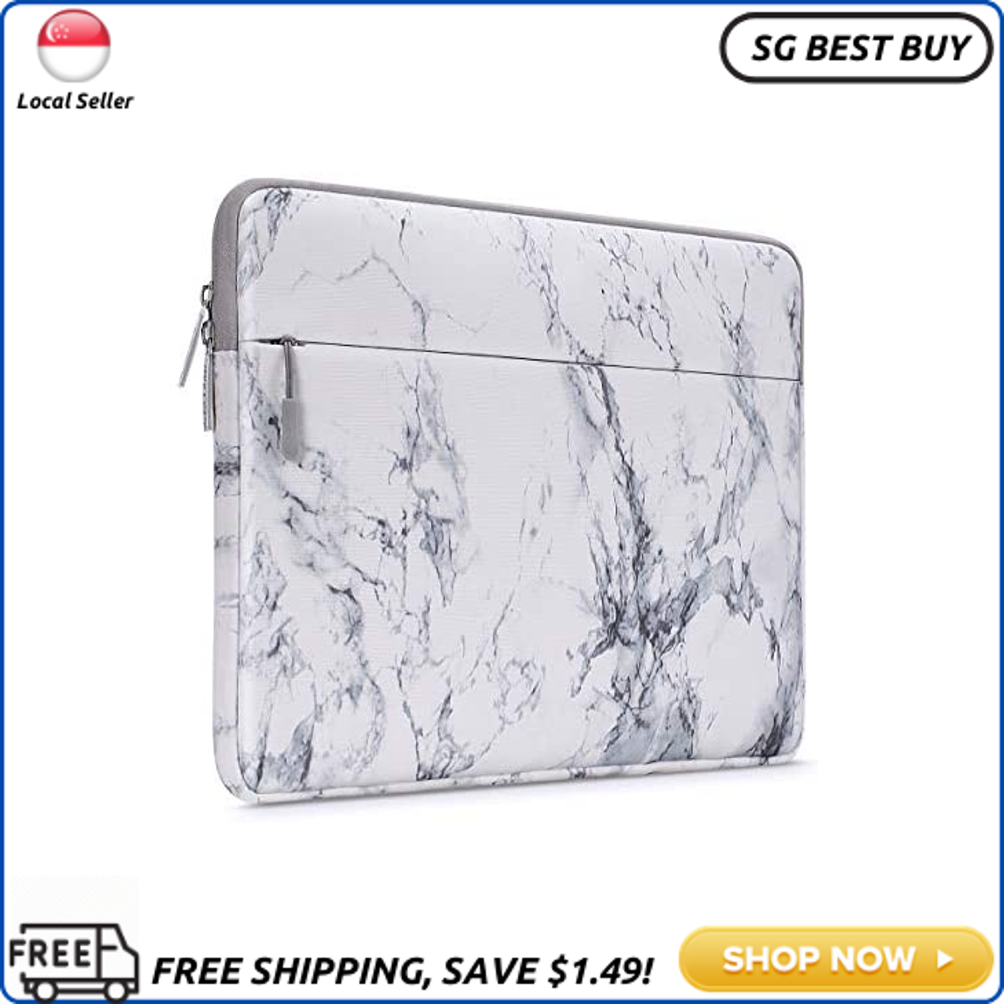 (SG SELLER) MOSISO Laptop Sleeve Bag Compatible with 13-13.3 inch MacBook Pro, MacBook Air, Notebook Computer with Accessory Pocket, Protective Canvas Marble Pattern Carrying Case Cover, White