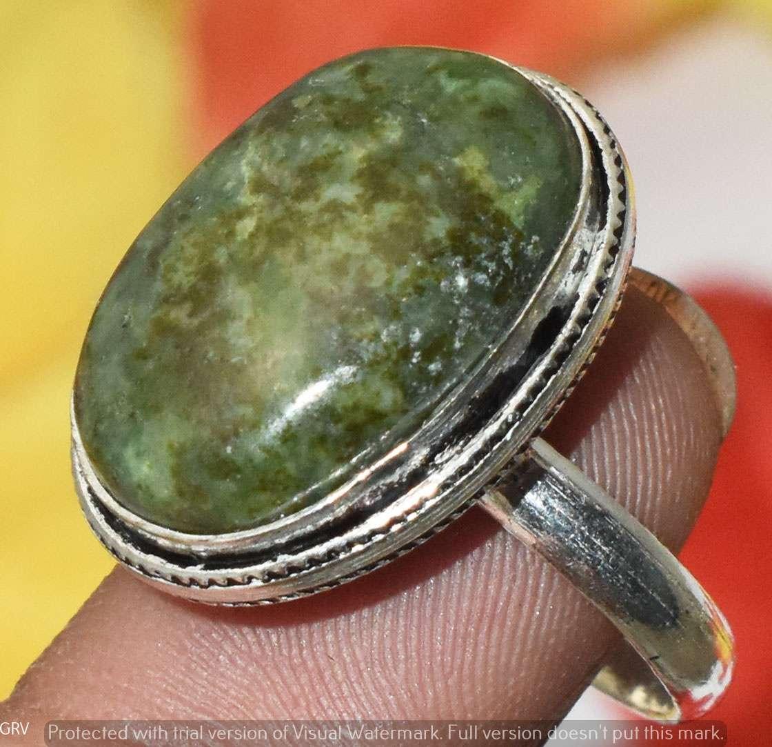 Vintage Sterling Silver Green Jasper Gemstone Ring