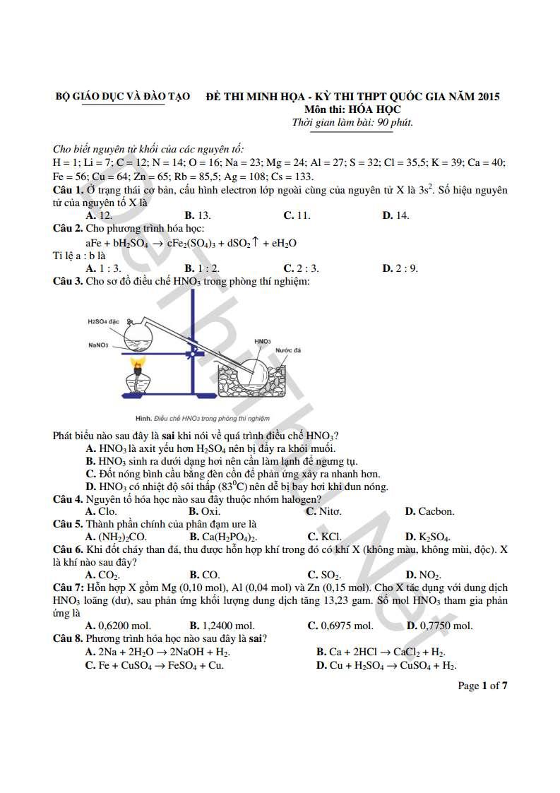 Đề mẫu môn Hóa THPT Quốc Gia 2015 kèm đáp án của Bộ GD & ĐT