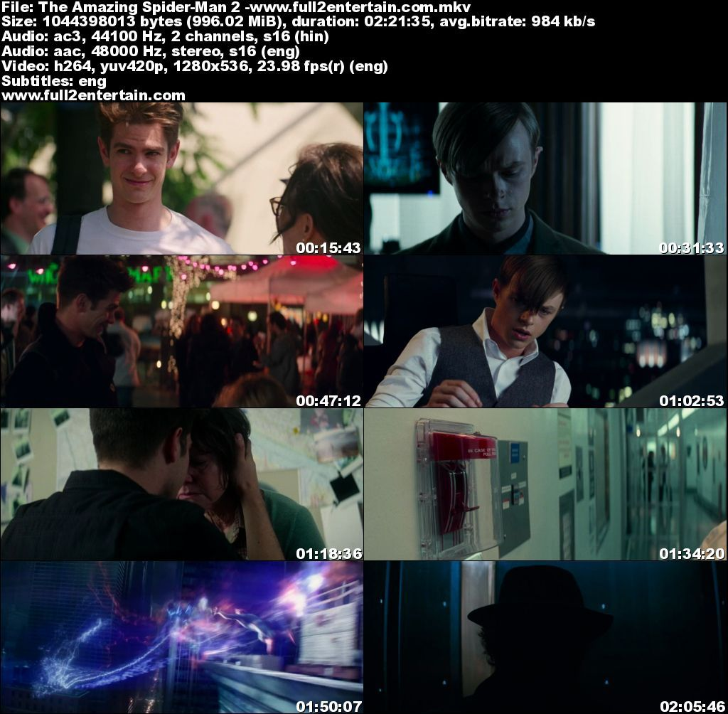 The Amazing Spider Man 2 Full Movie Download Free in Bluray 720p Dual Audio