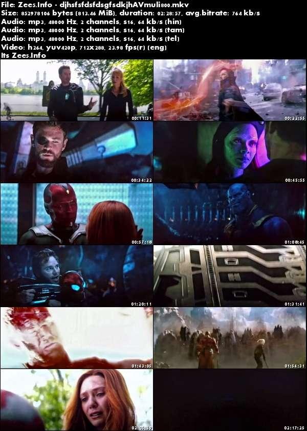 Avengers Infinity War 2018 PreDVDRip HQ Multi Line Audio 800MB