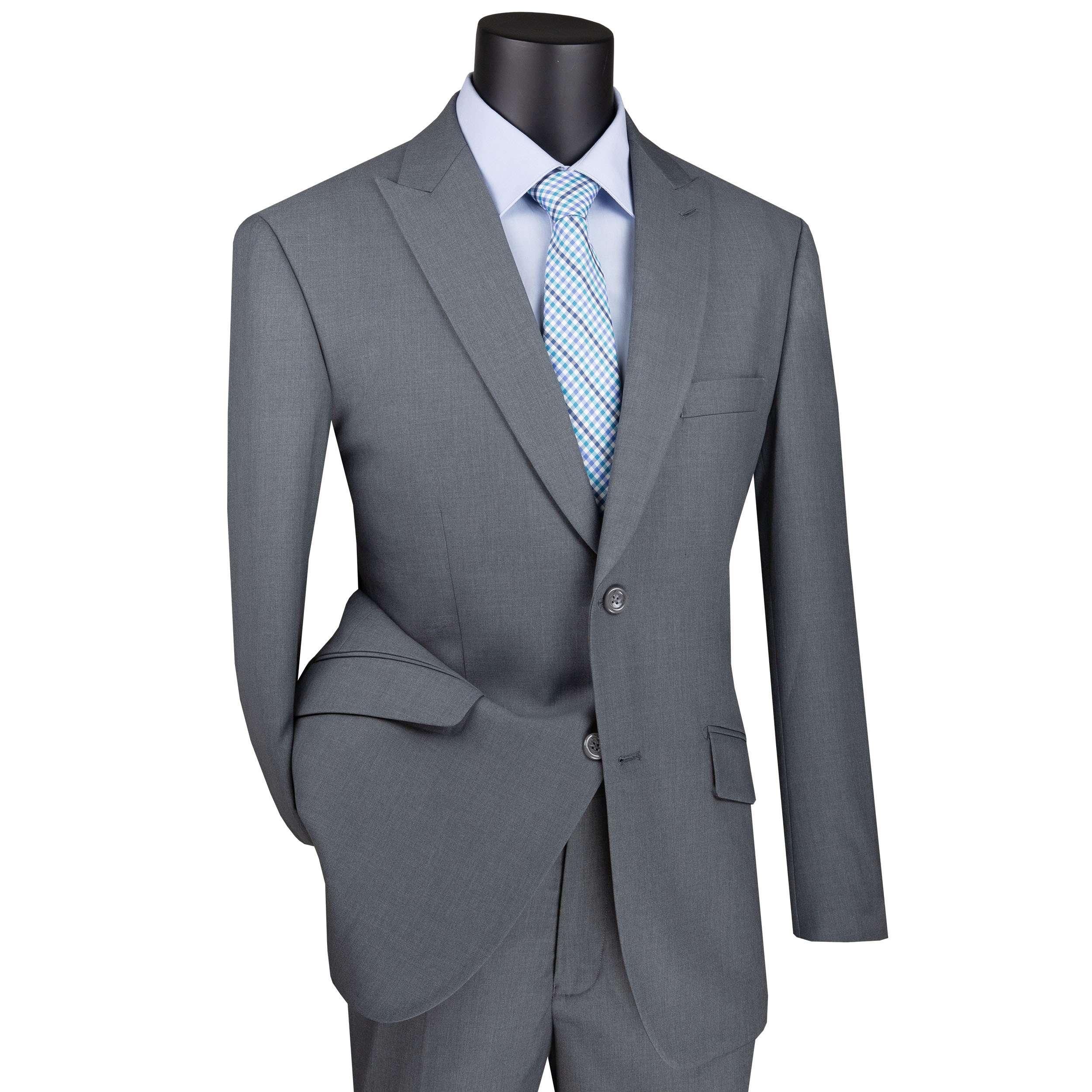 VINCI Men/'s Blue Textured Solid 2 Button Classic Fit Business Suit NEW