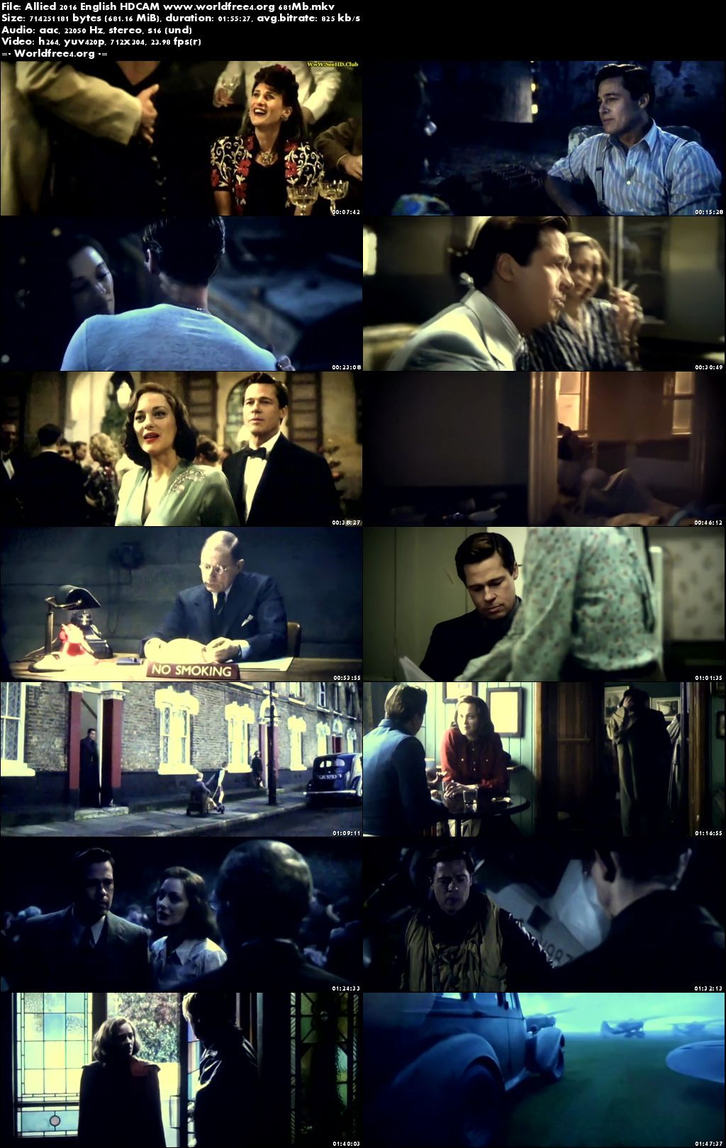 Resumeable Single Free Download Links For Allied 2016 Full Movie English 350Mb 480p HDCAM Watch Online Free at worldfree4.org