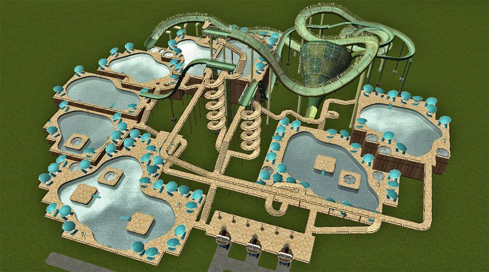 Image 01, My Downloads - Parks and Coasters - TNS Showcase! Demonstration Pool Complex - Primary Demo Screenshot