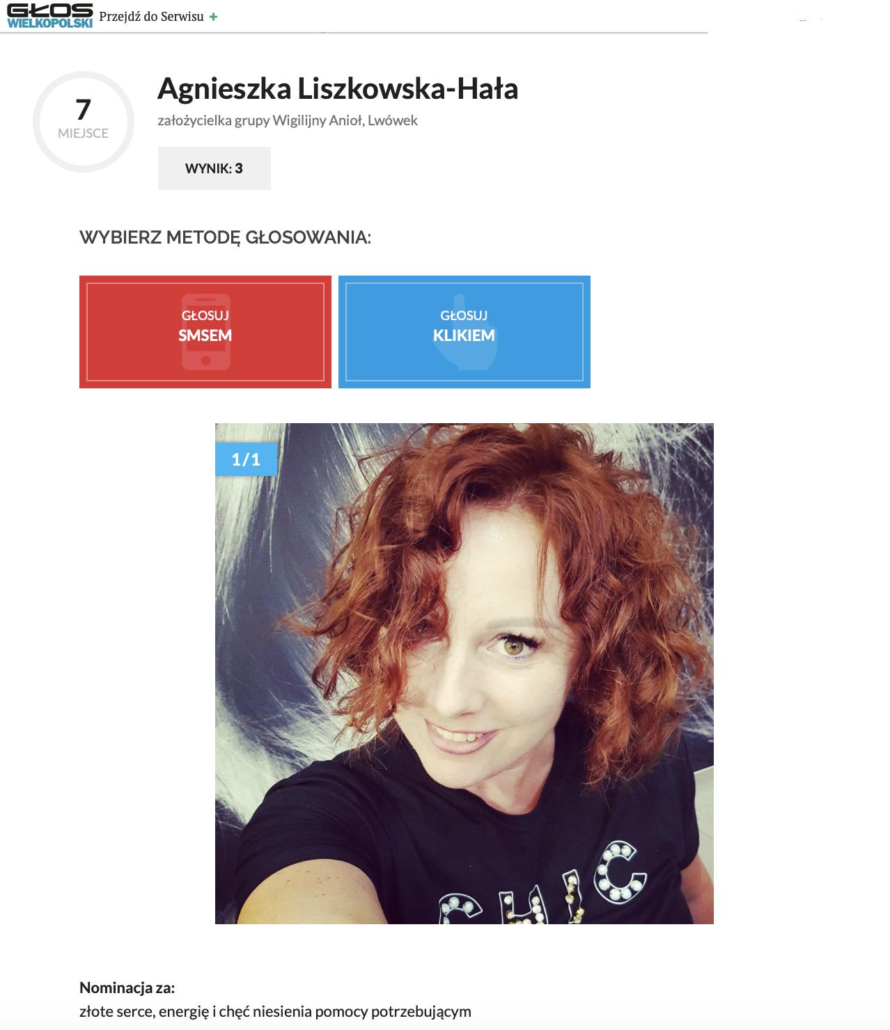 Agnieszka Liszkowska – Hała wplebiscycie naOsobowość Roku