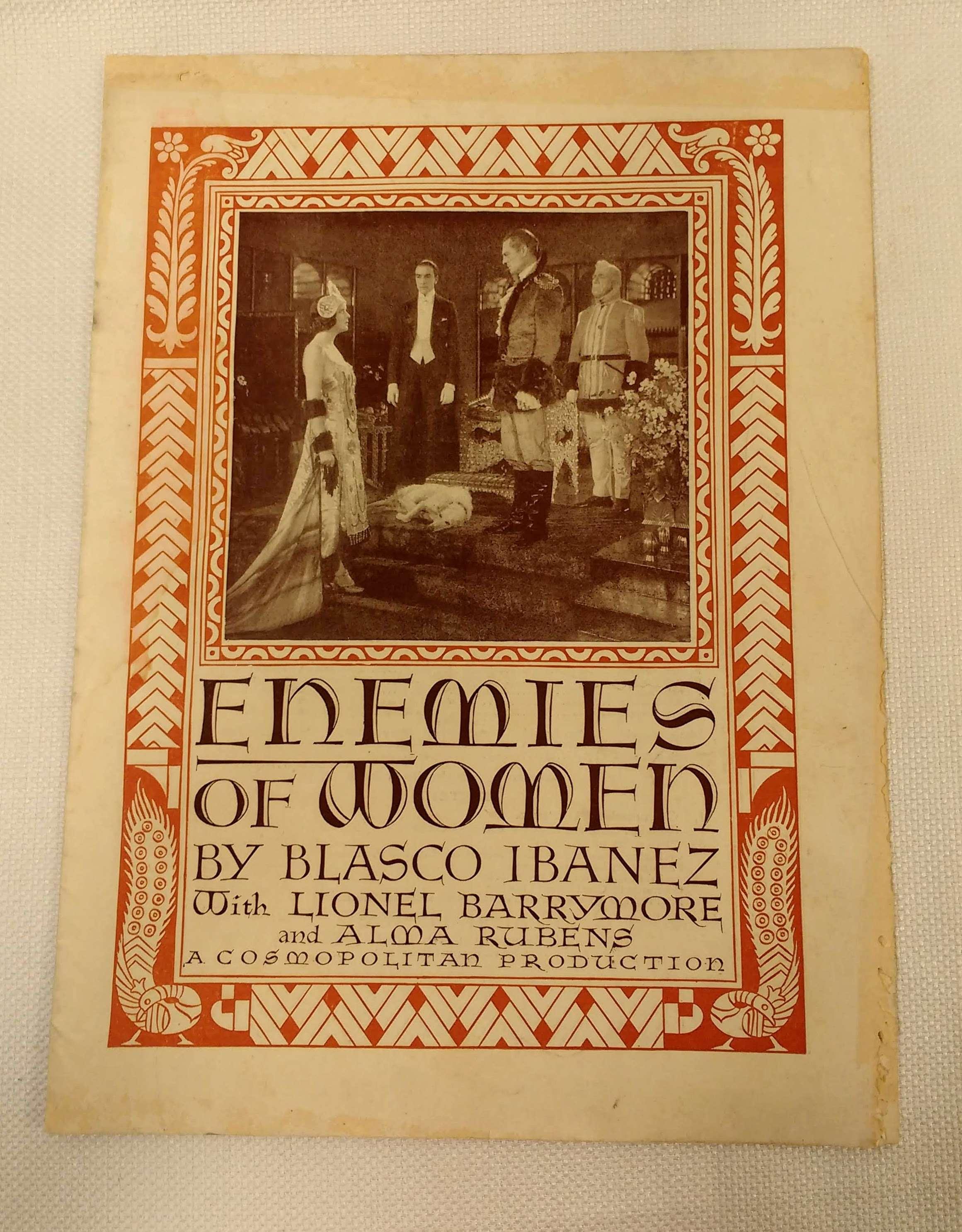 Enemies of Women; A Cosmopolitan Production [movie program], Blasco Ibanez, Vincente; Crosland, Alan [director]