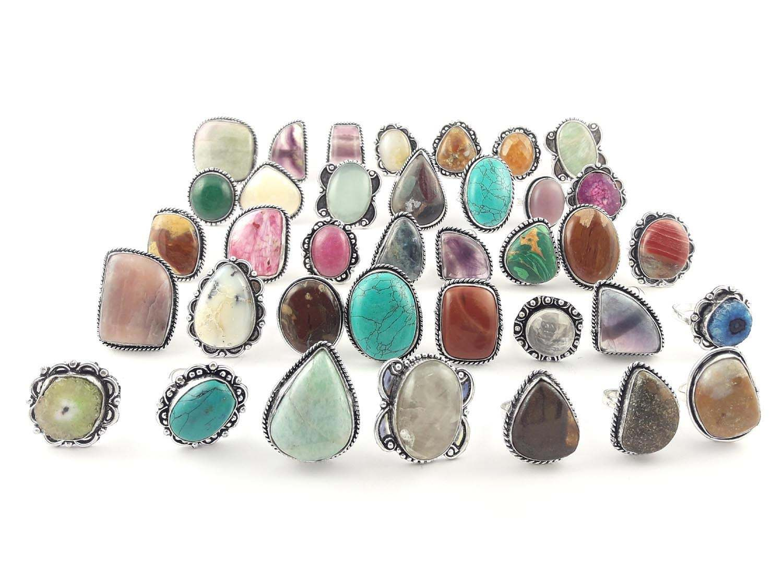 Malachite /& Mix Gemstone Wholesale Lot 120pc 925 sterling Silver Overlay Pendant