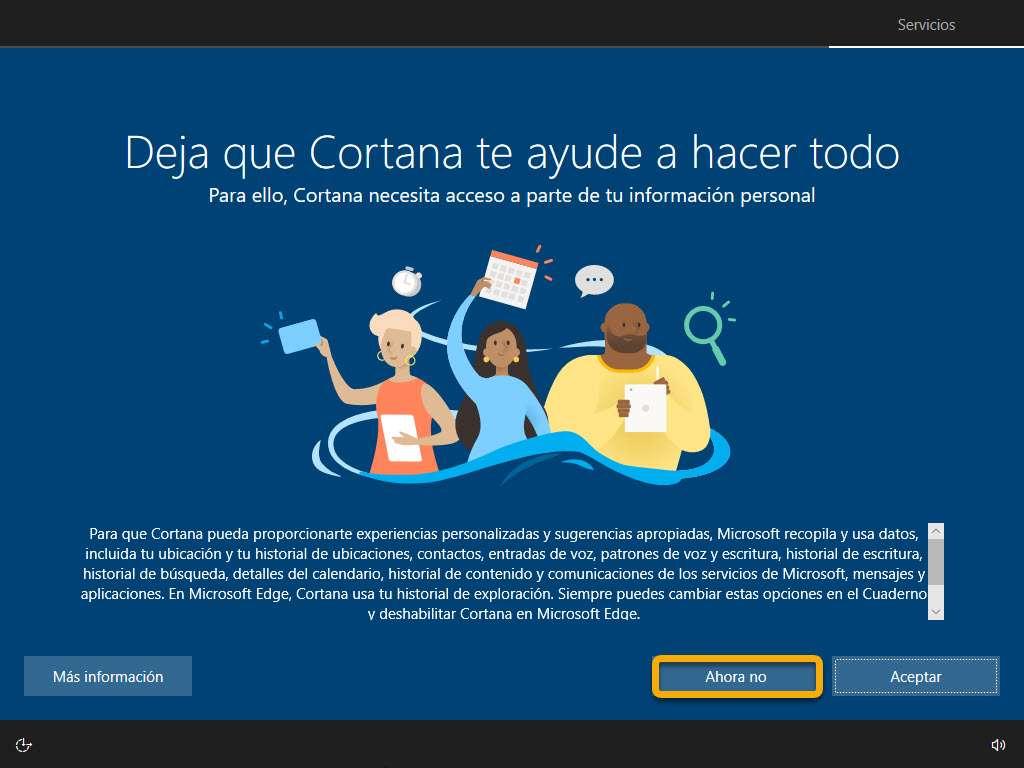 El asistente Cortana incluido en Wndows 10 Pro