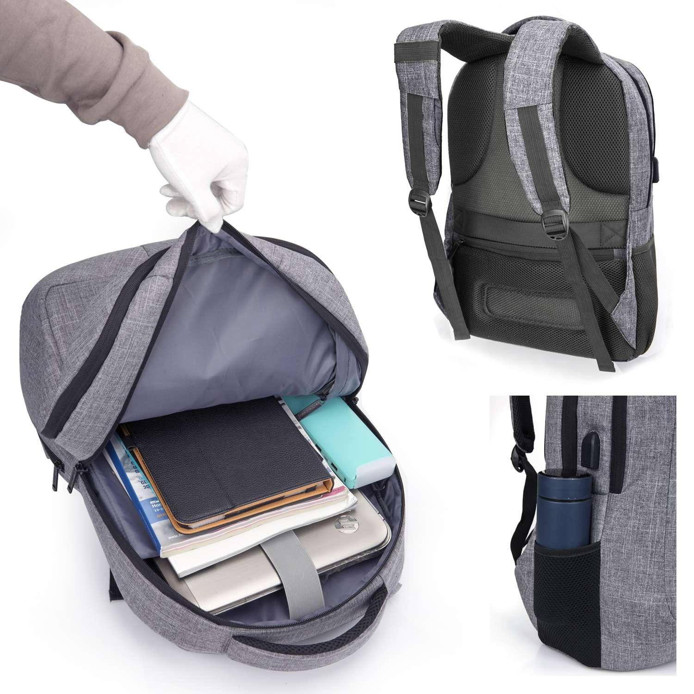 Gris CoolBELL Sac /à dos dordinateur portable de 17.3 pouces Sac dOrdinateur avec Port USB Sac /à dos daffaires r/ésistant /à leau Sac /à dos de Randonn/ée Multi-compartiment Sac /à dos pour les s/éries