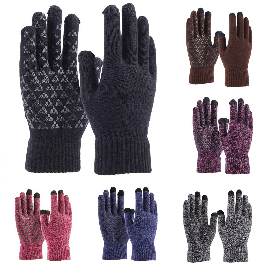 Men Women Winter Snow Gloves Windproof Wool Warm Thick Thermal Non-Slip Palm