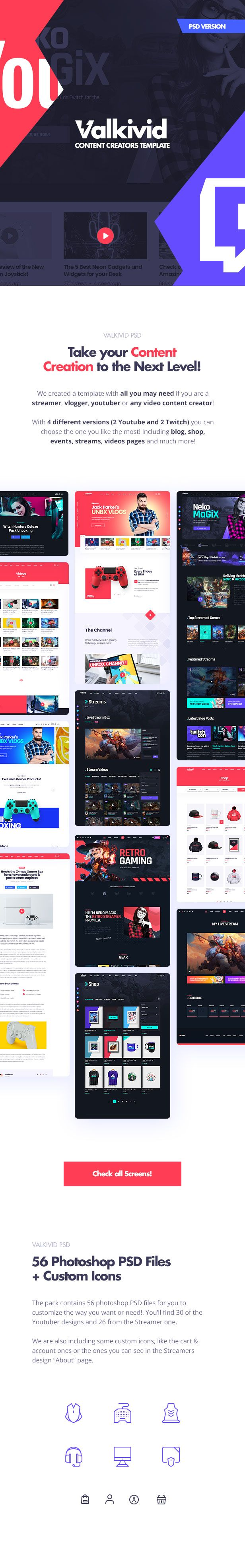Valkivid - Streamer and Youtuber PSD Template - 9