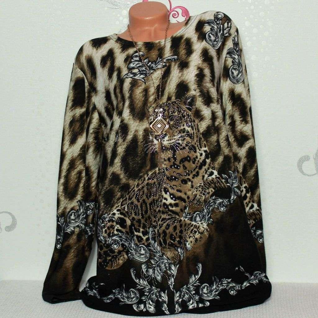 de4abb9aaa10e1 Das Bild wird geladen Damen-Pullover-Tunika-Shirt-Langarm-Glitzer -Leopard-42-
