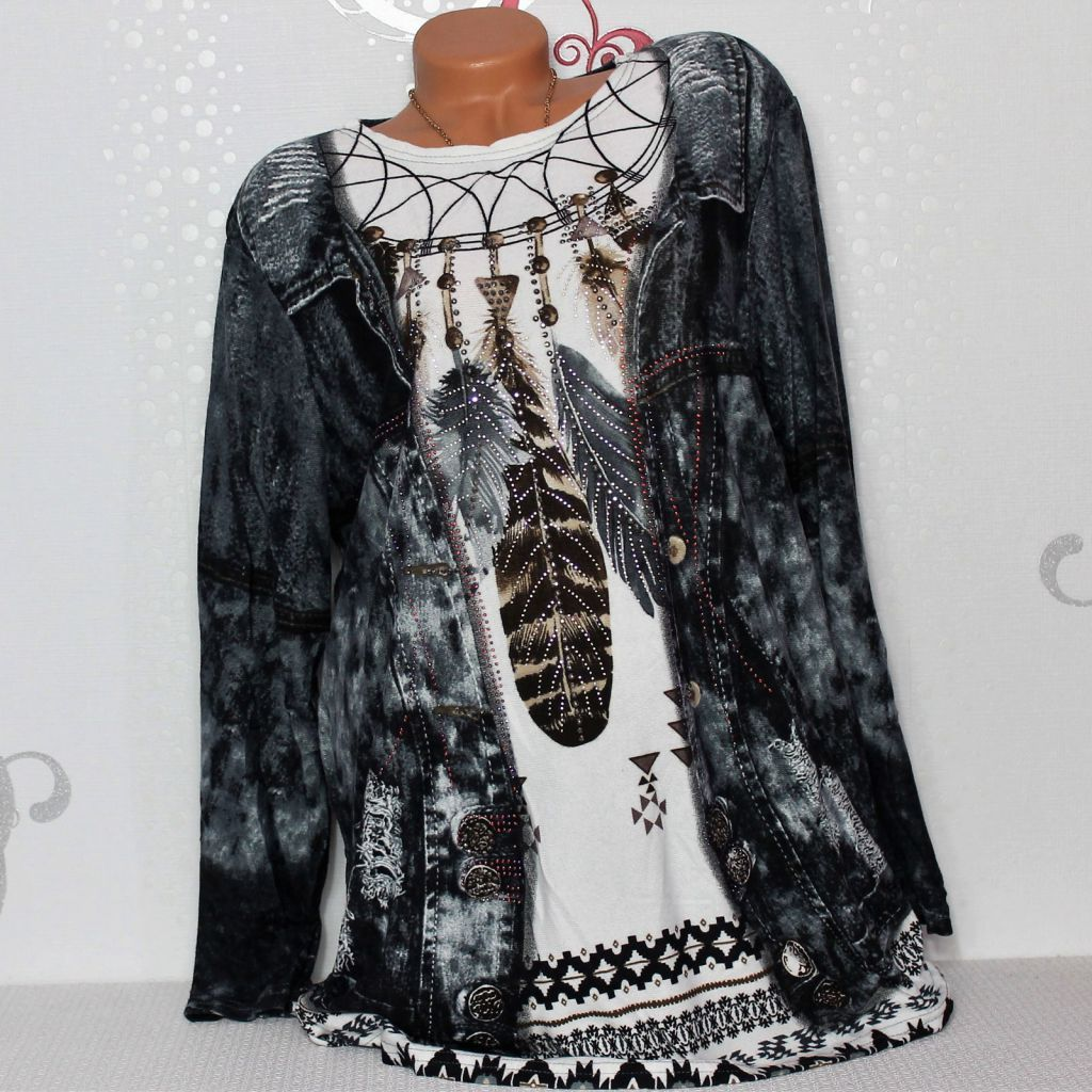 Damen Pullover Tunika Shirt Langarm Glitzer Print 44 46 48