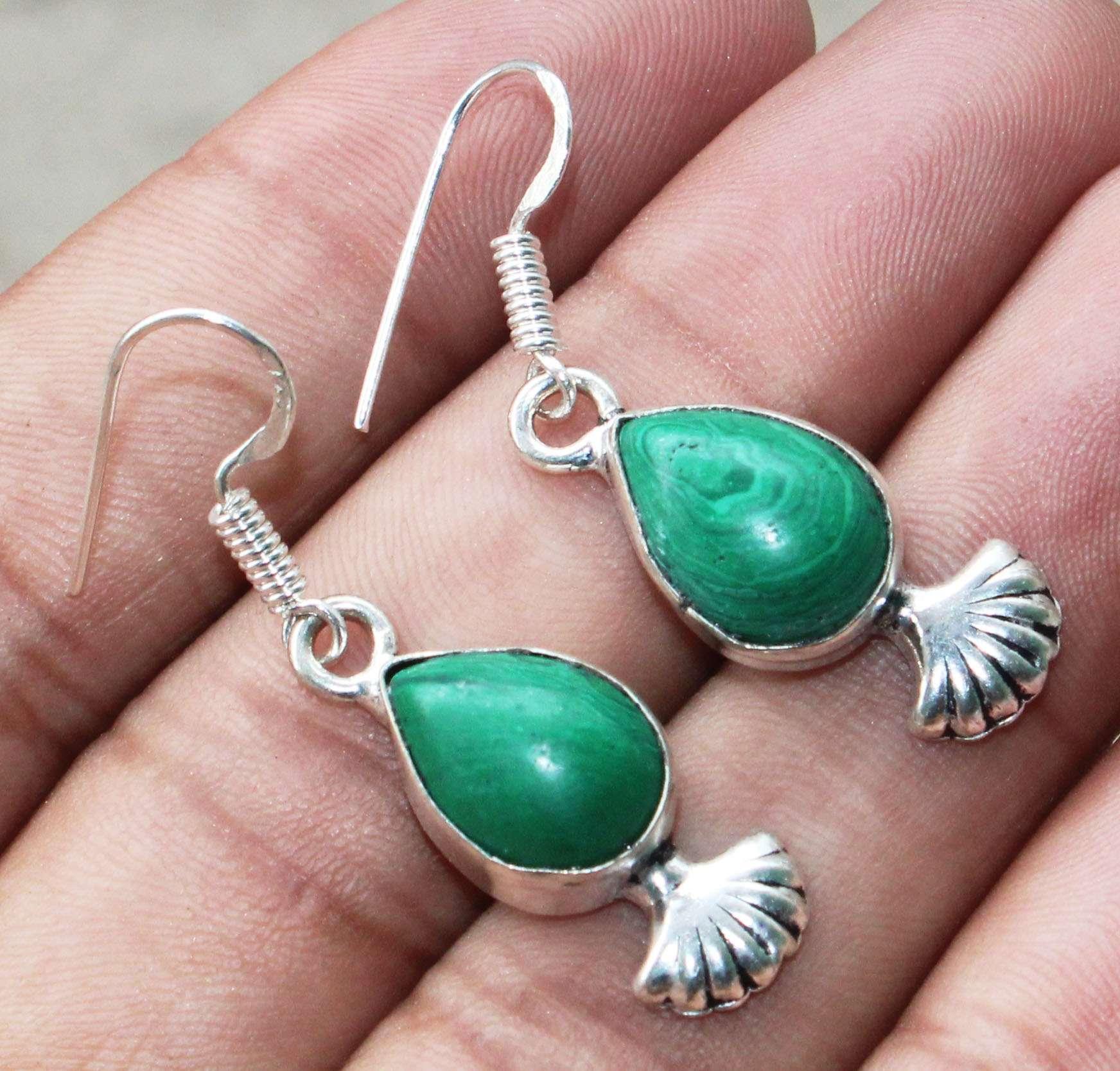 ae3713 925 Sterling Silver Handmade Designer Charm Stud Earring Jewelry Amazing Malachite Round Shape Gemstone Solid Stud Earring
