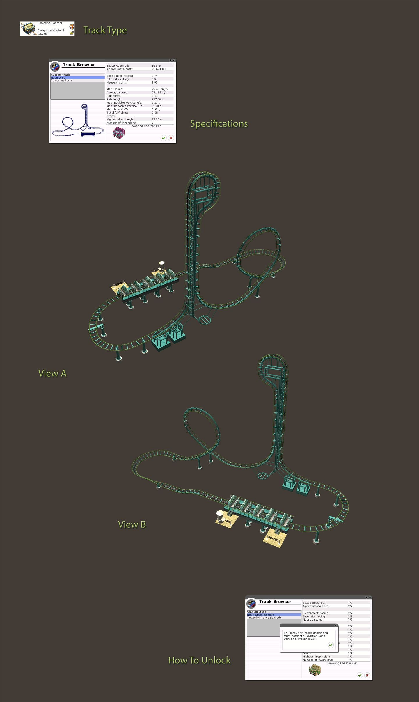Locked Coaster Details Image for FlightToAtlantis.net: RCT3 FAQ: Campaign Scenario Directory Specifics: Egyptian Sand Dance