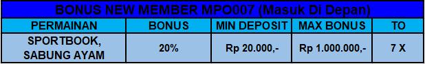 Bonus New Member Sportbook Sabung Ayam | MPO007