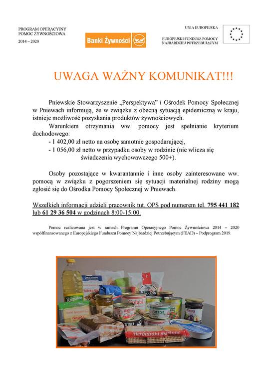 Pomoc dla osób wtrudnej sytuacji materialnej
