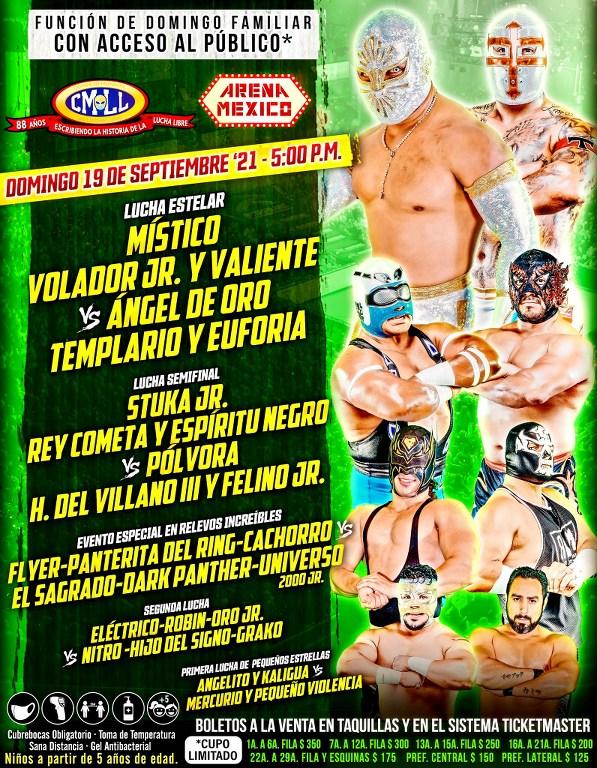 Cartelera lucha libre CMLL del Domingo 19 de Septiembre del 2021