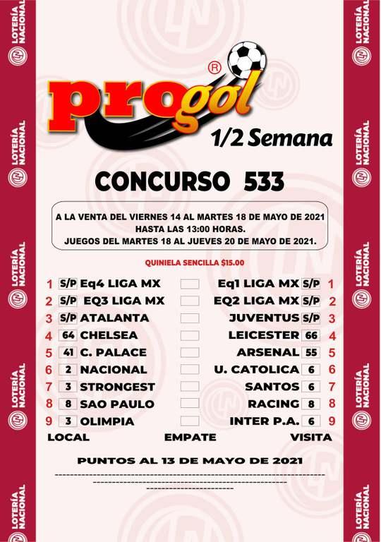 Quiniela Progol del concurso 2032