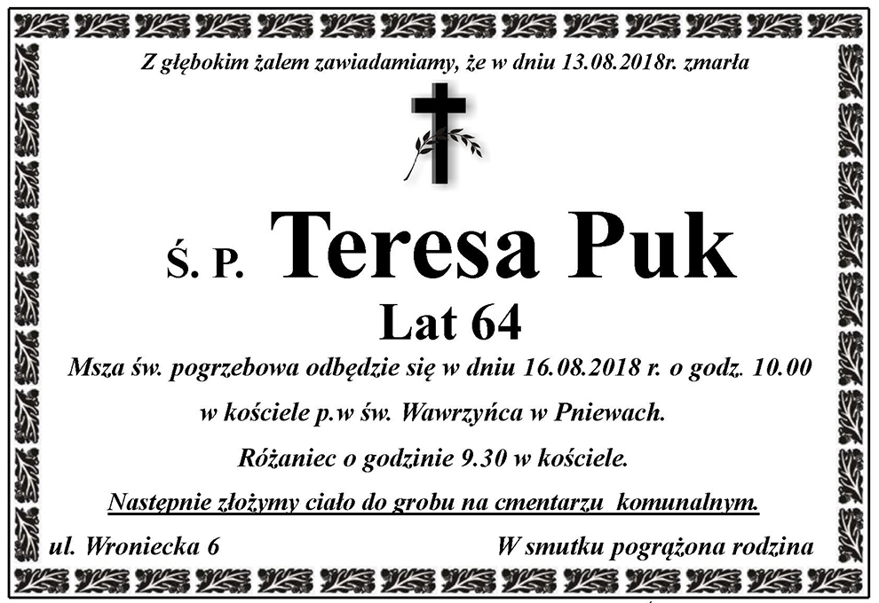 Żyli wśród nas – Teresa Puk