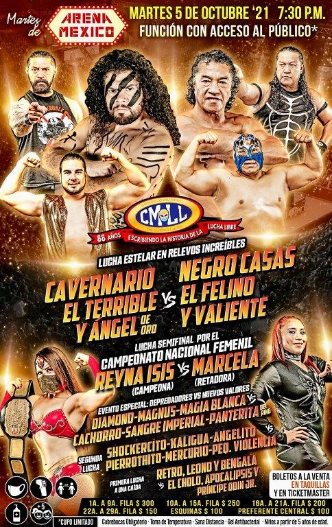 Cartelera lucha libre CMLL del Martes 5 de Octubre del 2021