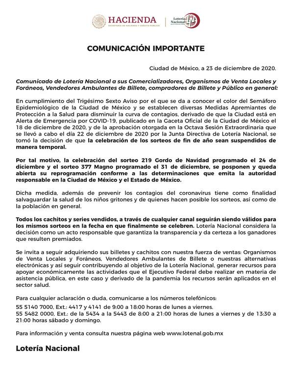 Comunicado suspensión Sorteo Gordo de Navidad en México