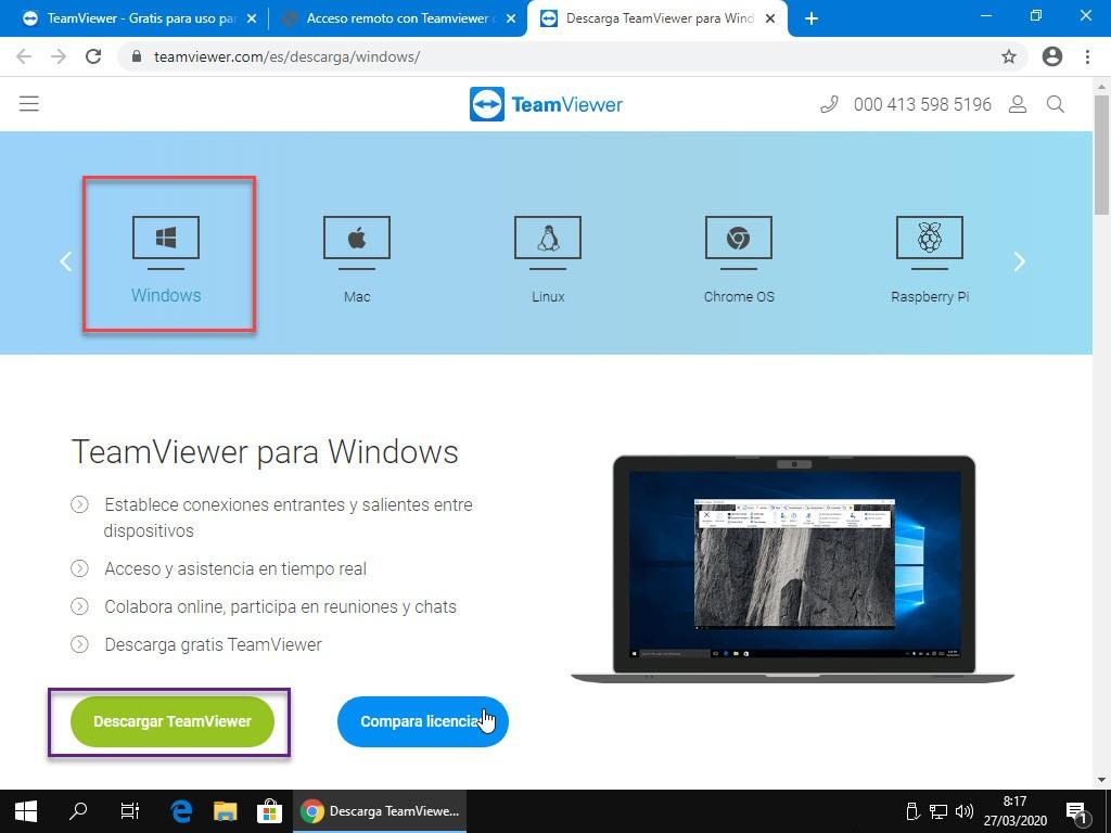 En la página oficial Teamviewer elegimos la versión para Windows