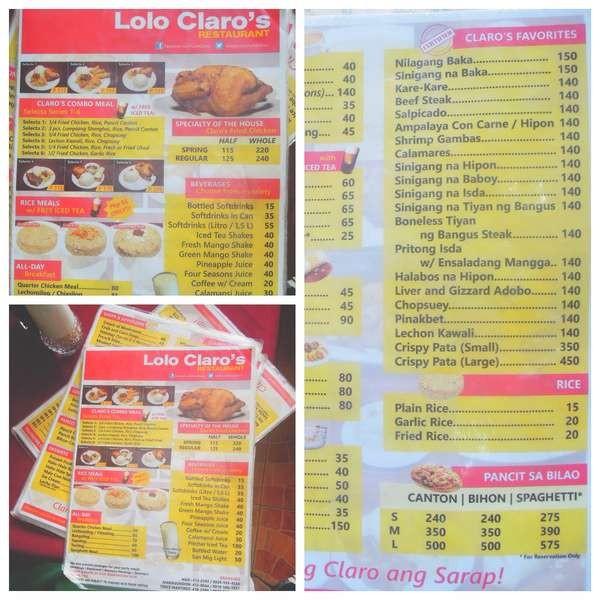 Lolo Claro's Restaurant menu