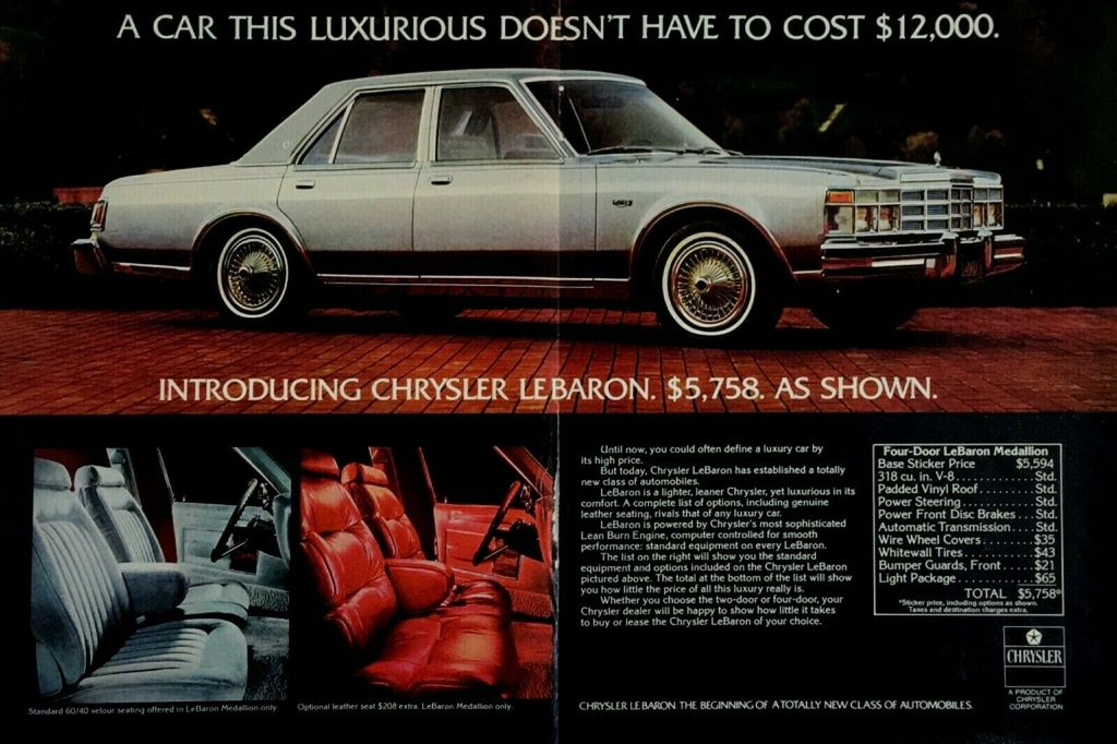 Details About 1977 Chrysler Lebaron Car Interior Vintage Color Photo Print Ad