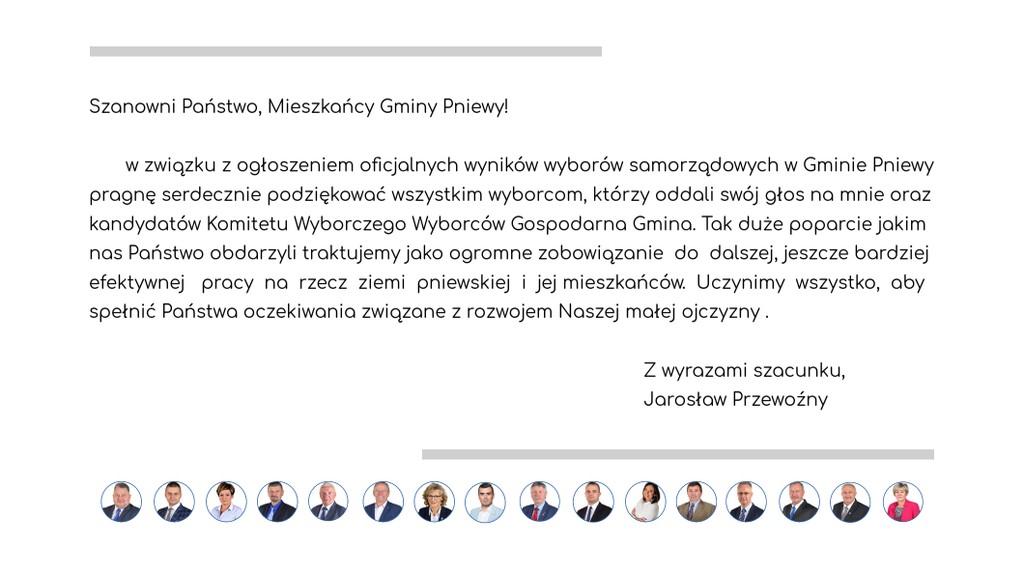 Podziękowania komitetu Jarosława Przewoźnego