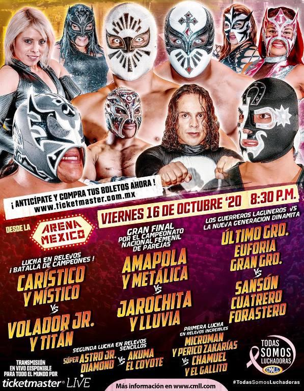 Cartelera lucha libre CMLL del Jueves 15 de Octubre del 2020
