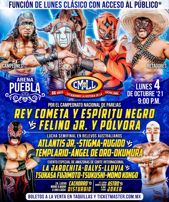Cartelera lucha libre CMLL del Lunes 4 de Octubre del 2021