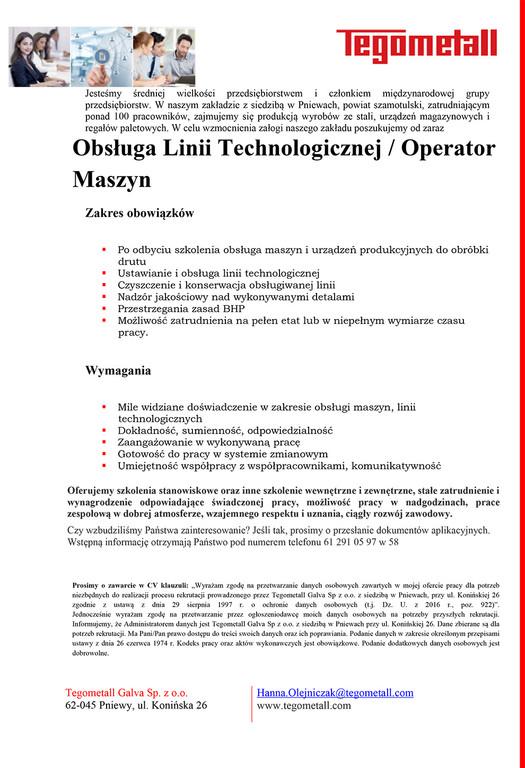 Obsługa Linii Technologicznej / Operator Maszyn