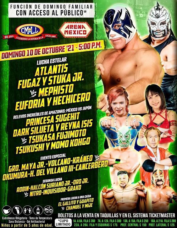 Cartelera lucha libre CMLL del Domingo 10 de Octubre del 2021